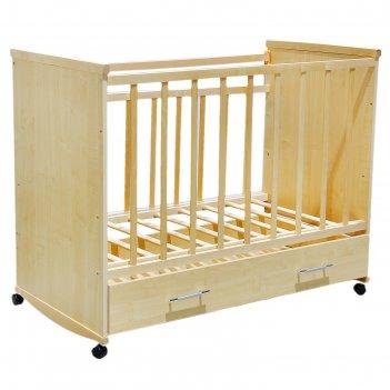Детская кроватка садко с ящиком, цвет клен