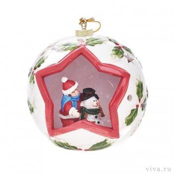 Новогодняя композиция в шаре 14 см с подсветкой  «снеговики»