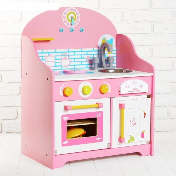 Игровой набор уютная кухня, посудка в наборе, высота от пола до столешницы