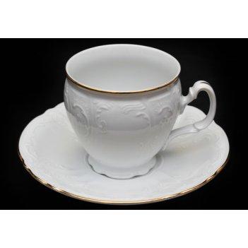 Набор для чая бернадот белый на 6перс.12пред. высокие на ножке