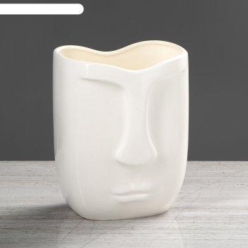 Ваза лицо, белый глянец, 19 см