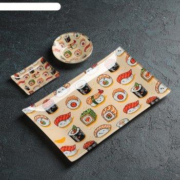 Набор для суши 3 пред сет соусники 8х2 см, 8х6х1 см, подставка 25x15x3 см