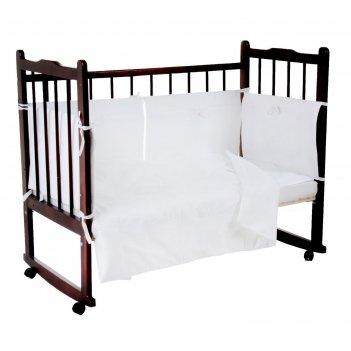 Комплект в кроватку наше счастье (6 предметов), цвет белый 10625