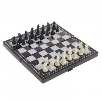 Игра настольная магнитная «шахматы», чёрно-белые, в коробке, 24.5х24.5 см