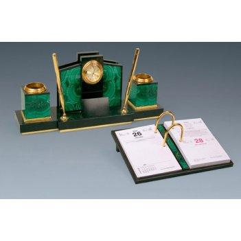 Письменный прибор из малахита и долерита «новый»