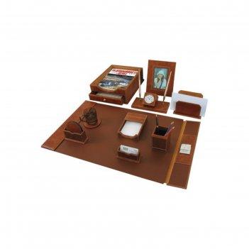 Набор настольный galant из кожи, 9 предметов+часы, коричневый 231190