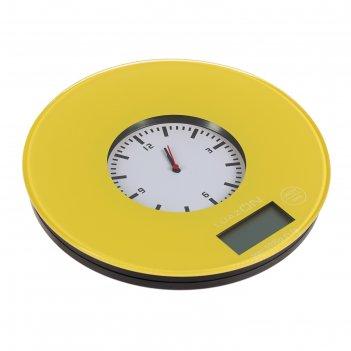 Весы кухонные luazon lvk-508, электронные, до 5 кг, встроенные часы, жёлты
