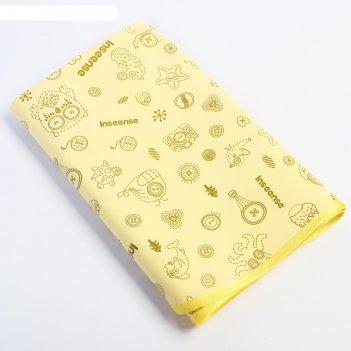 Клеенка 50х70 см., с пвх покрытием, с окантовкой, цвет желтый с рисунком
