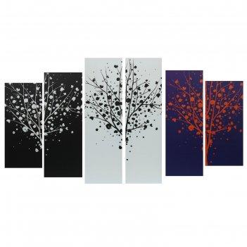Модульная картина на подрамнике разноцветные кусты, 150x84 см
