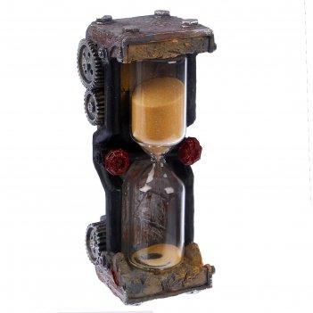 Часы песочные шестеренки, вытянутой формы, микс песок, полистоун, 15 минут