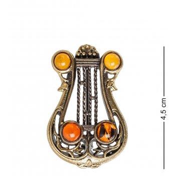 Am- 924 брошь лира (латунь, янтарь)