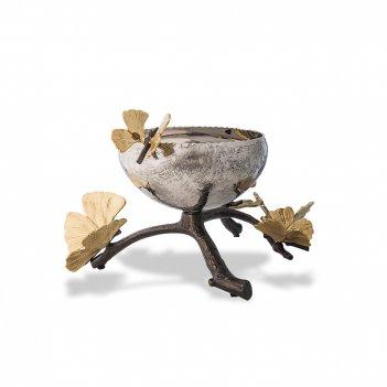 Чаша «бабочки гинкго», диаметр: 13 см, материал: нержавеющая сталь, латунь