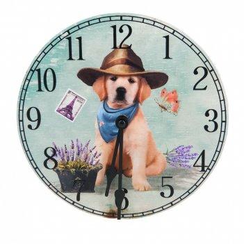 Часы настенные щенок d=20см. (батарейка-1аа) (транспортная упаковка)