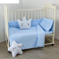 Комплект в кроватку карамельки (6 предметов), цвет голубой