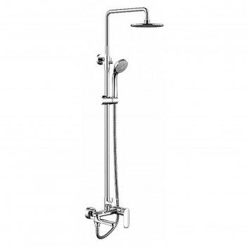 Душевая колонна bravat opal c, со смесителем для ванны, поворотный излив (