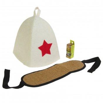 Набор банный к празднику 3 предмета: шапка, мочалка, масло