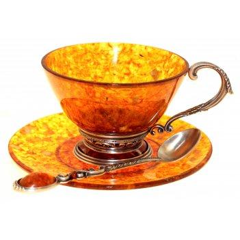 Чашка чайная ажурная из янтаря