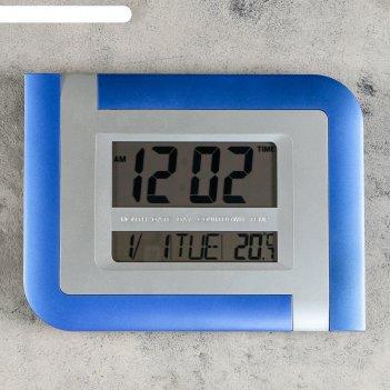 Часы настенные электронные с календарем, таймером и термометром, 26х20х3 с