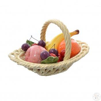 Корзина овальная с 1 ручкой кремовая orgia фрукты 24 см