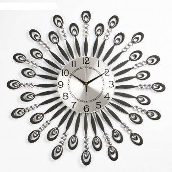 Часы настенные, серия: ажур, мерцание, рама с ковкой и стразами, d=60 см