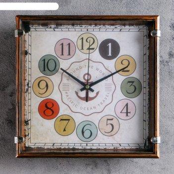 Часы настенные, серия: классика, якорь 24х24 см, дискретный ход