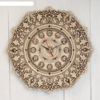 Часы «узор», 30x30x3 см, береста