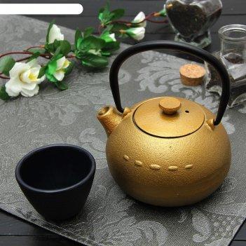 Чайник с ситом 300 мл берг, цвет золотой