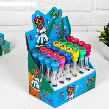 Мыльные пузыри-ручки с печатью и светом космическое сердце, 10 мл, цвета м