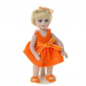 Кукла коллекционная лерочка в оранжевом платье
