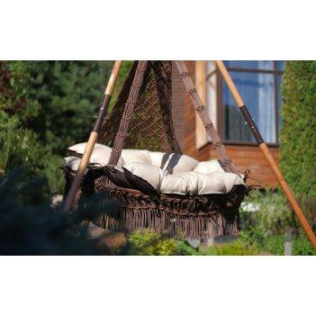 Подвесное кресло качели cartagena (коричневый) + каркас майя (дерево)