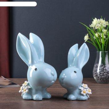 Сувенир керамика зайчики с незабудками голубой набор 2 шт 20,5х13х9 см