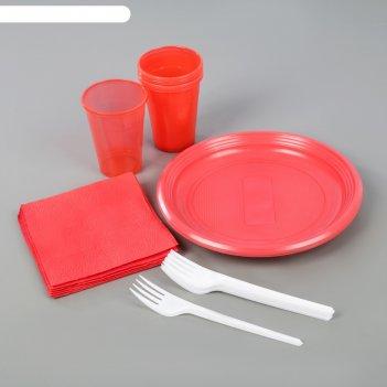 Набор для пикника «летний №2», 6 персон, цвет красный