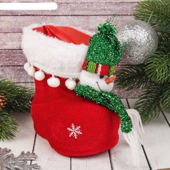 Подарочная упаковка сапожок с зелёным снеговиком