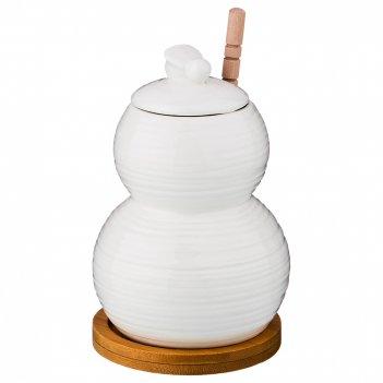 Банка для меда с деревянной палочкой 350 мл диаметр=9 см высота=13 см (кор