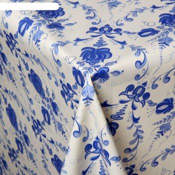 Клеенка столовая на нетканой основе русский узор, рулон 25 м, цвет белый