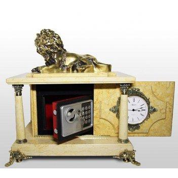 Часы-сейф из мрамора с фигуркой льва (арт.с-013)