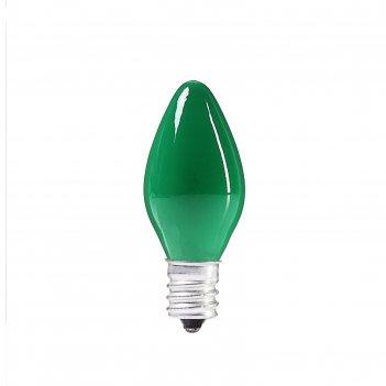 Лампочка накаливания e12, 10w, для ночников и гирлянд, матовая зеленая, 22