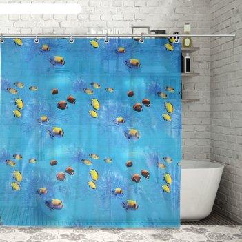 Штора для ванной рыбки