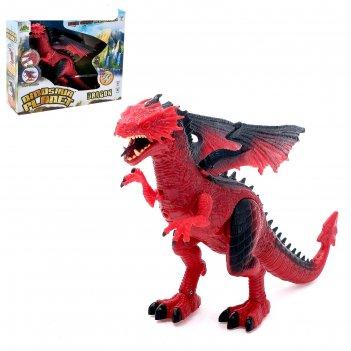 Динозавр дракон, работает от батареек, свет и звук