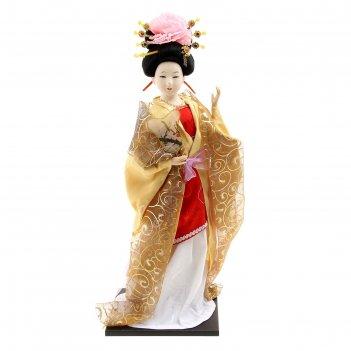 Кукла коллекционная гейша в сливочном кимоно с веером