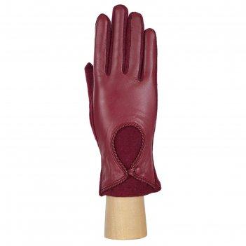 Перчатки женские натуральная кожа/шерсть (размер 6) бордовый