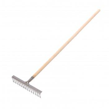 Грабли прямые, повёрнутый зубец, 14 зубцов, нержавейка, деревянный черенок