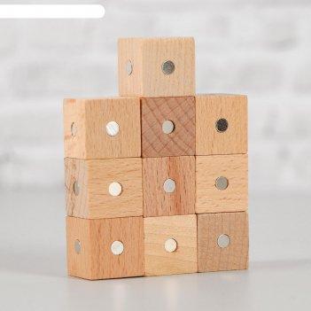 Магнитный констрктор кубики 10 шт размер кубика 2х2х2 см цвет натуральный