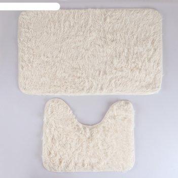 Набор ковриков для ванны и туалета «пушистик», 2 шт: 40x50, 50x80 см, цвет
