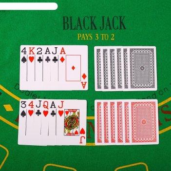 Карты игральные пластик 54 шт, 28 мкрн, черные, 6,5*9 см