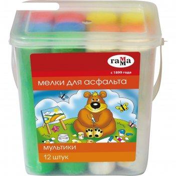 Мелки цветные для асфальта 12 штук мультики, в пластиковом ведёрке, круглы