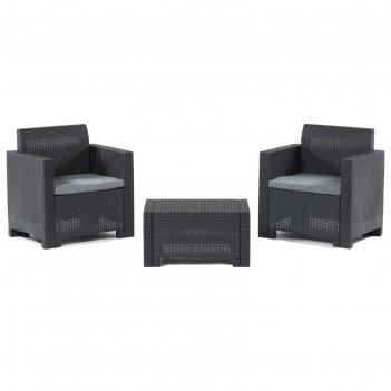 Комплект садовой мебели столик+ 2 кресла(искусственный ротанг) set nebrask