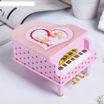 Шкатулка пластик музыкальная механическая розовый рояль 9,2х14х10,8 см