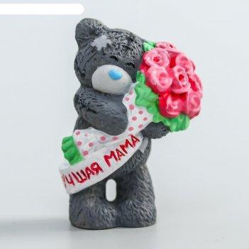 Сувенир полистоун медвежонок me to you с букетом розовых роз - лучшая мама