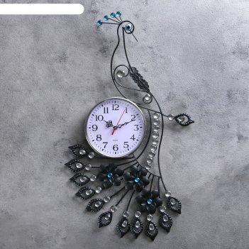Часы настенные серия ажур павлин в стразах 64*4*35 см.